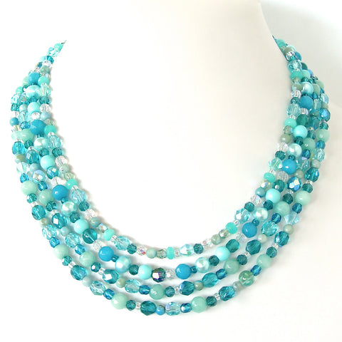 6' Teal Crystal Necklace