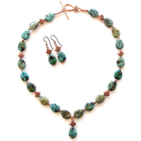African Turquoise Pendant Necklace Set