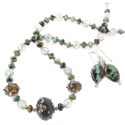 African Turquoise Necklace with Art Glass