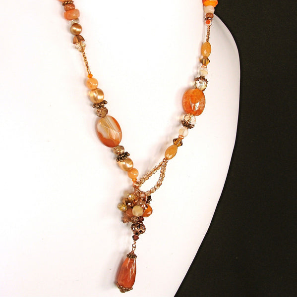 22.5 inch Agate and Carnelian Necklace Back