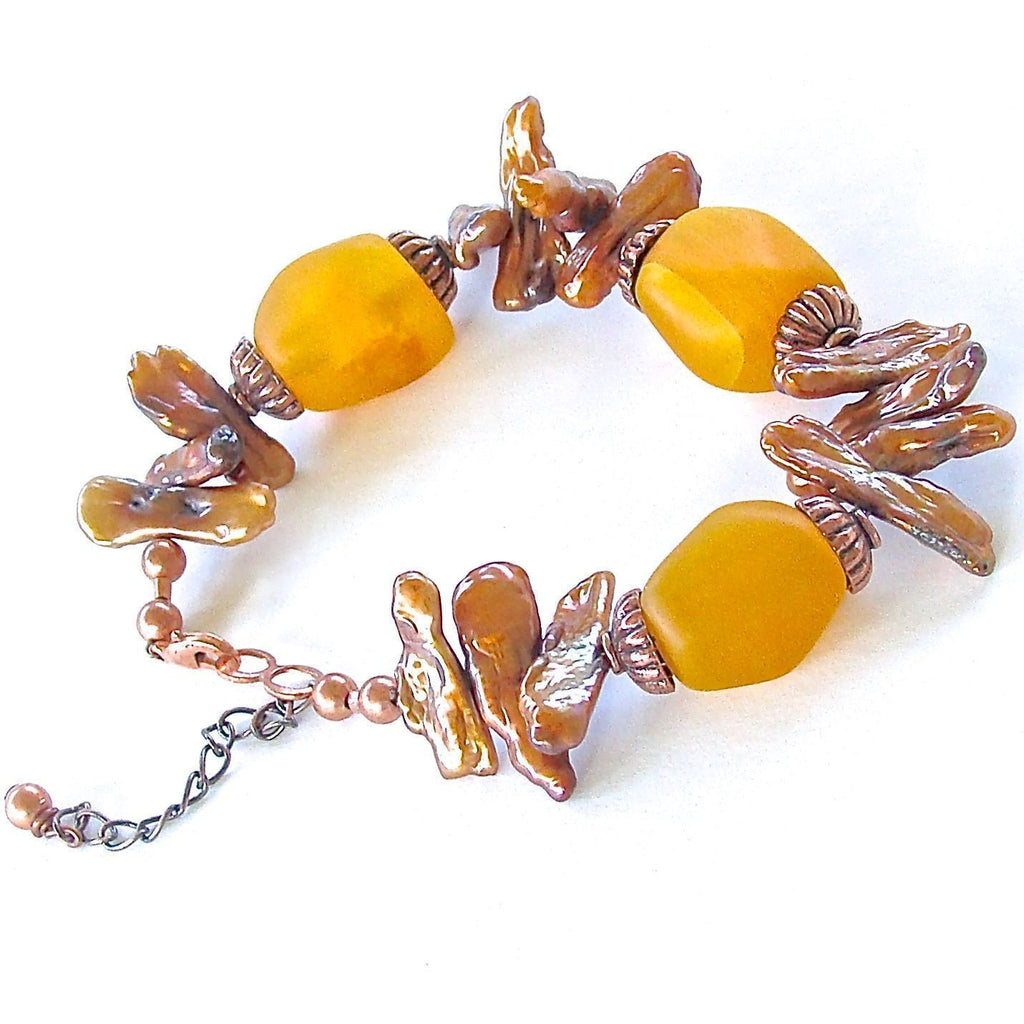 Amber colored Handmade Beaded Bracelet