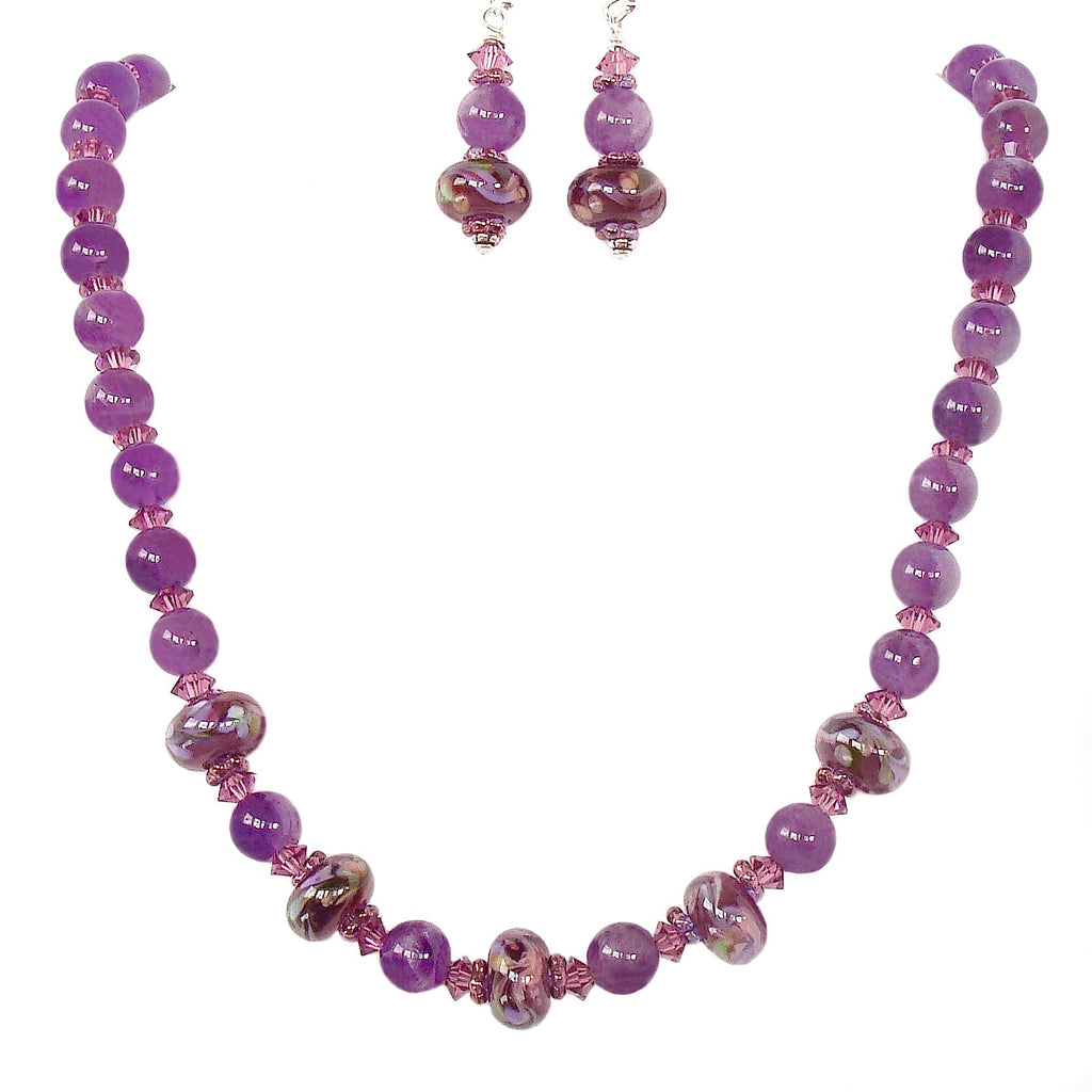 Amethyst Necklace with Art Glass