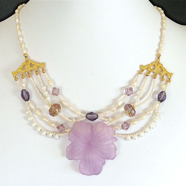 Anabelle Lucite Flower Necklace Collar Style