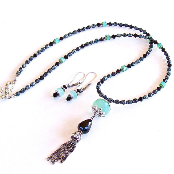 Aqua Chalcedony Tassel Necklace