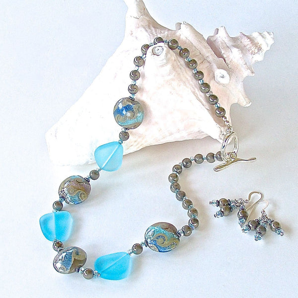 Aqua Sea Glass Necklace Set