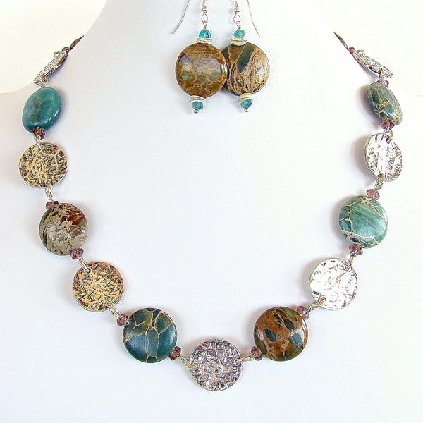 Aqua Terra Jasper and Silver Disc Necklace Set