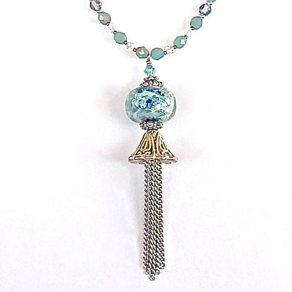 Aqua and cobalt tassel pendant necklace