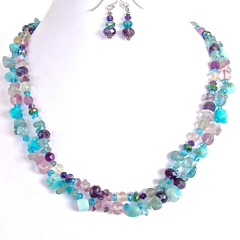 Aqua and purple gemstone necklace set