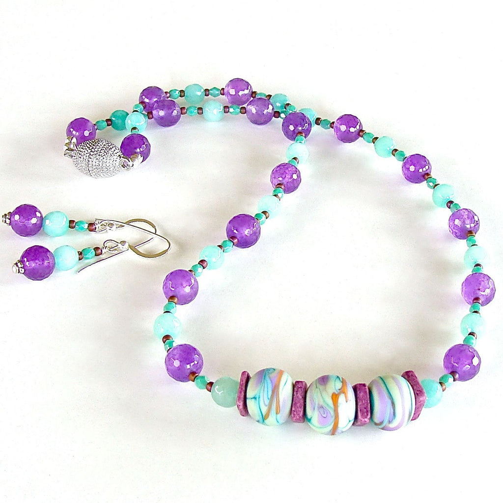 Aqua and purple summer necklace set