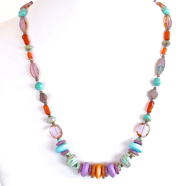Aqua purple orange beaded necklace