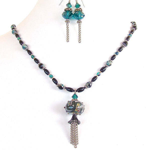 Art Glass Tassel Necklace