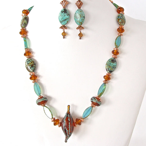 Vega: Unique Necklace with Green Turquoise
