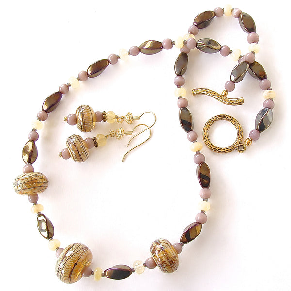 Art Glass Necklace in Cream and Bronze