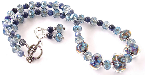 Art Glass Necklace with Blue Sodalite