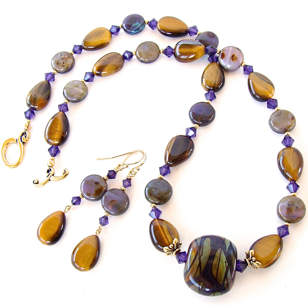Art Glass Necklace with Tigers Eye Gemstones