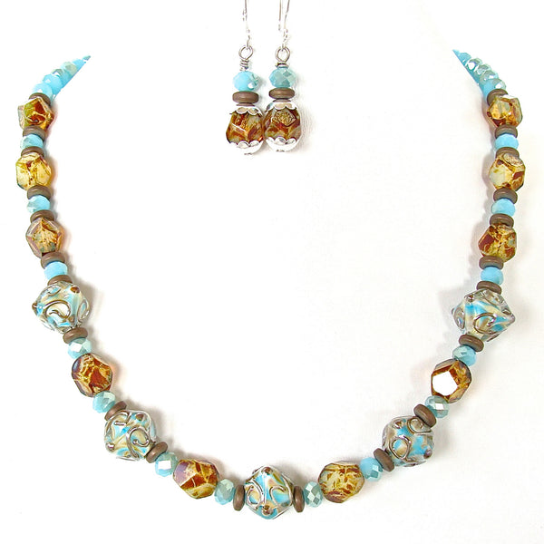 Art glass necklace set