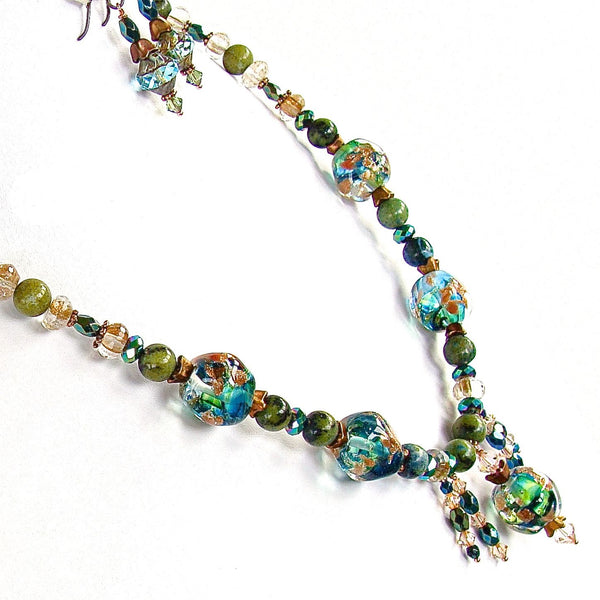 "Guinevere: 20"" Blue and Green Beaded Necklace Set"