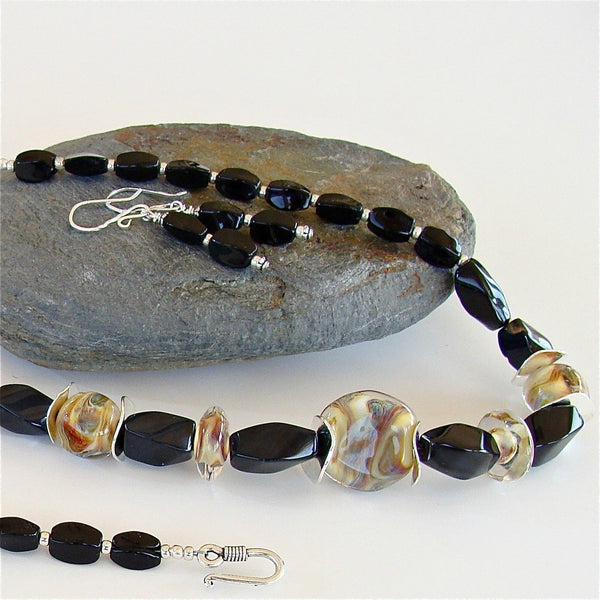 Artisan Lampwork and Onyx Necklace Set