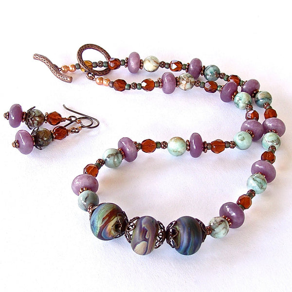 Artsy Beaded Gemstone Necklace