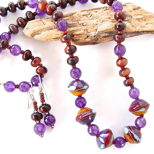 Artsy Jewelry with Purple Gemstones