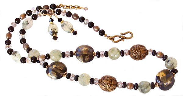 Asian Inspired Necklace with Art Glass and Gemstones