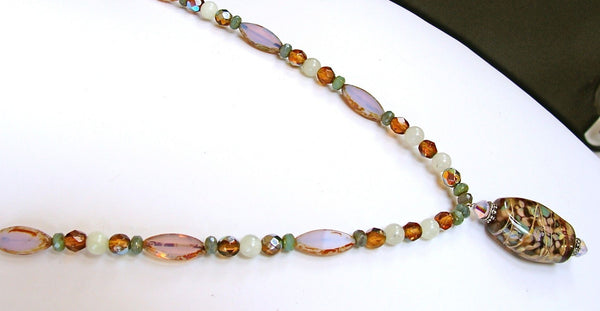 "Garden Mum: 20"" Autumn Necklace with Hand Blown Glass Beads"