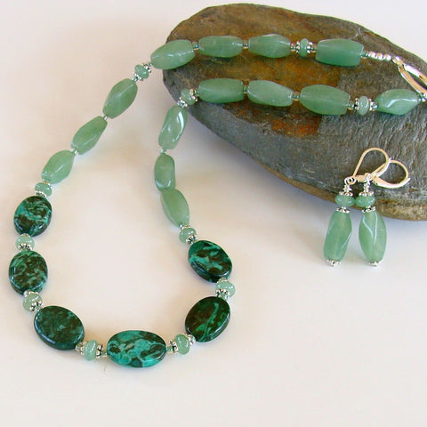 Aventurine and Malachite Necklace Set