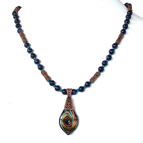 Beaded Boho Pendant Necklace