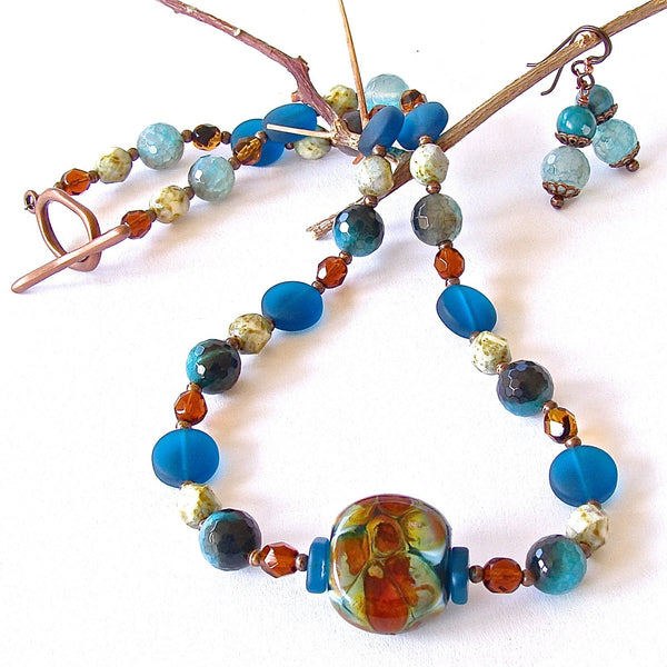 Beaded Glass Teal Jewelry