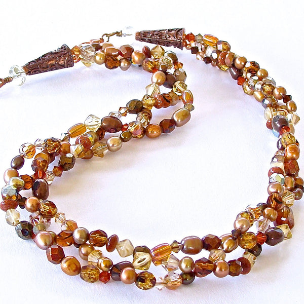 Earth Tone Matrix: Handmade Crystal and Pearl Jewelry