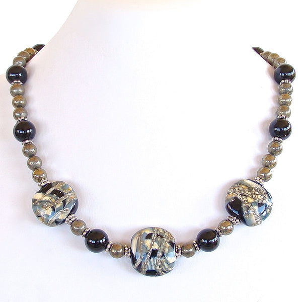 Beaded Hematite and Onyx Necklace