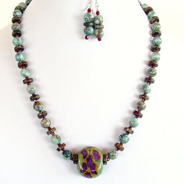 Beaded Jasper and Lampwork glass necklace