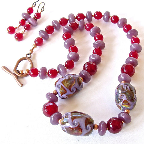 Beaded Jewel Tone Necklace Set