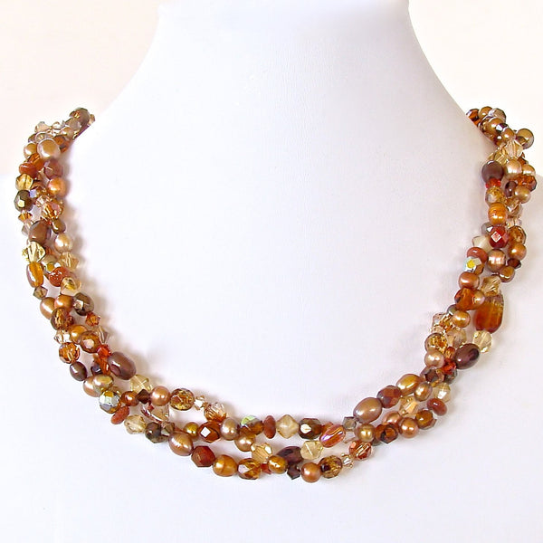 Beaded Necklace in Brown and Gold