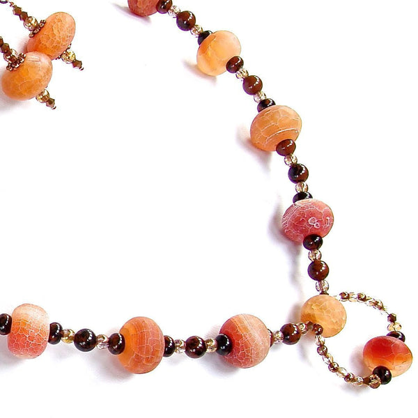 Beaded Orange Agate Necklace