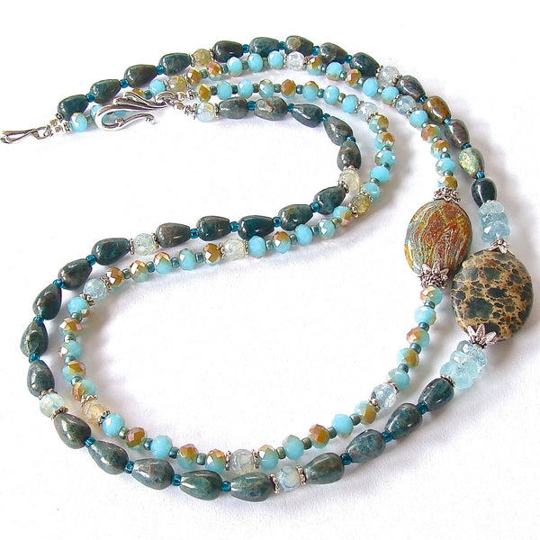 Beaded Teal Gemstone Necklace