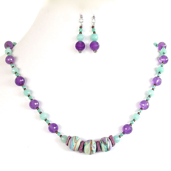 Beaded artisan glass and jade necklace set