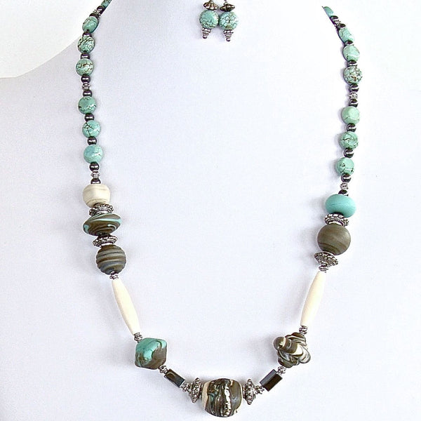 "Persian Princess: 21"" Lampwork and Hematite Necklace Set"