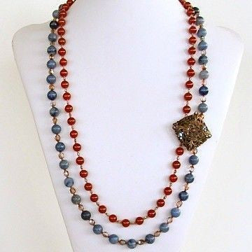 Beaded red and blue necklace