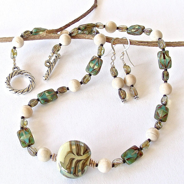 Beaded riverstone and art glass necklace