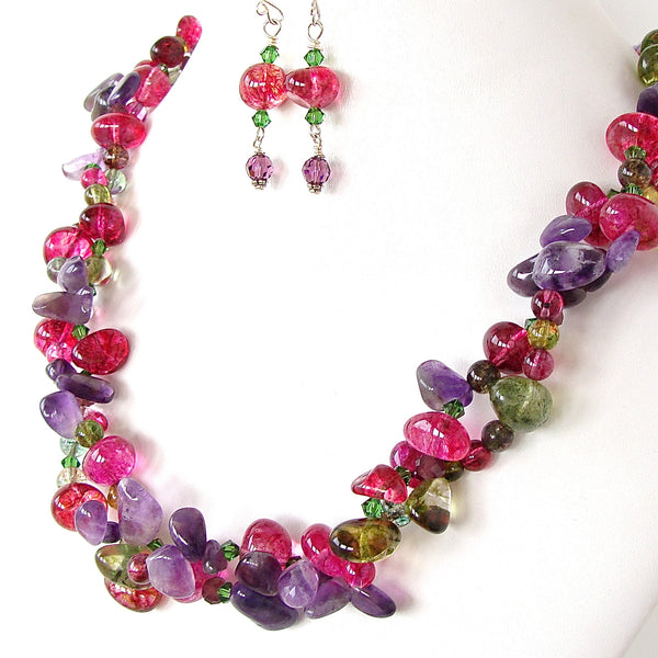 Beaded Amethyst and Pink Quartz Necklace Set