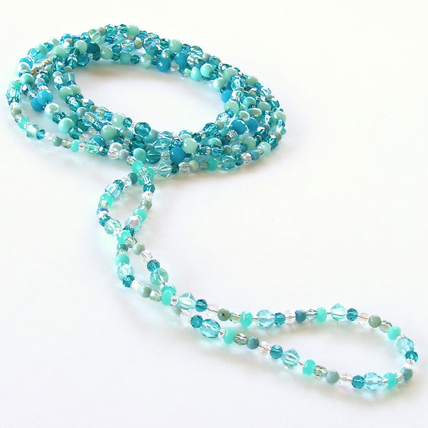 Beaded Teal Crystal Necklace