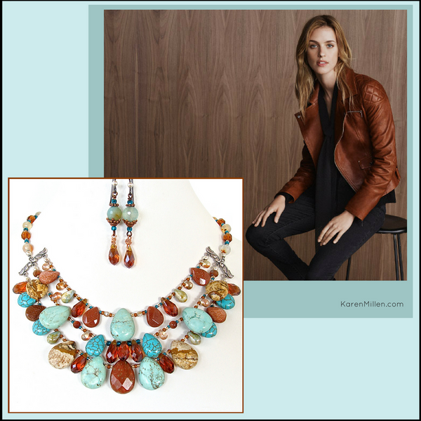 Moab: Crystal and Turquoise Gemstone Bib Necklace Set