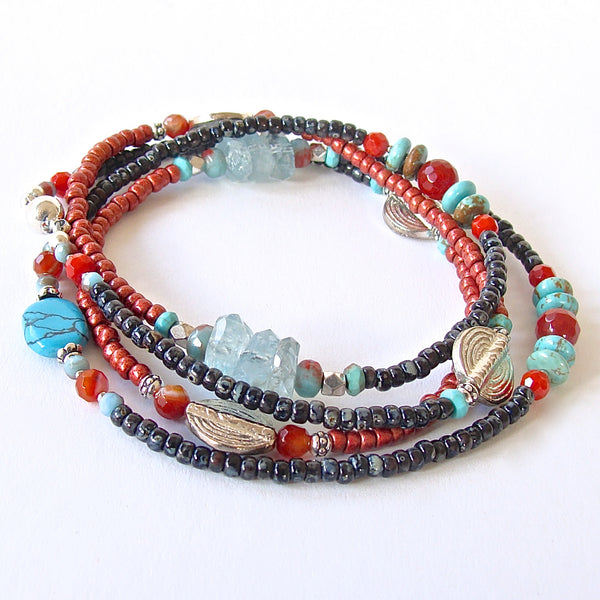 Santa Fe: Beaded Wrap Bracelet in Turquoise and Coral