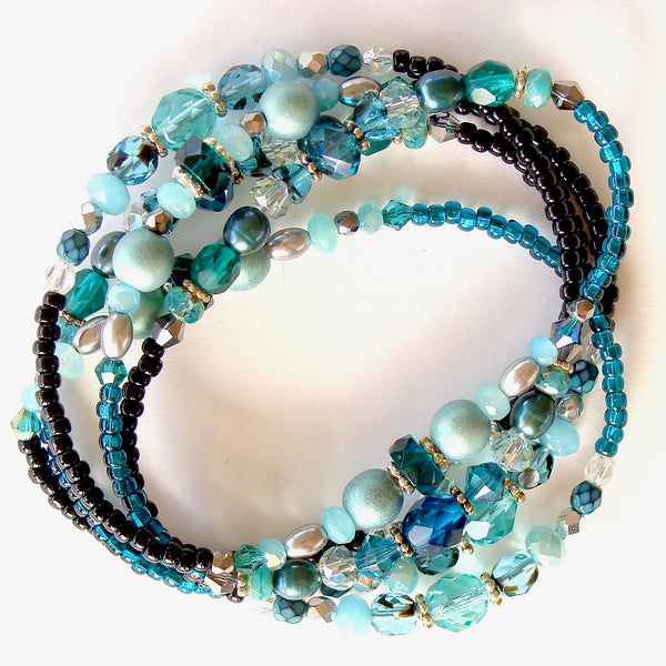 Beaded wrap bracelet in teal