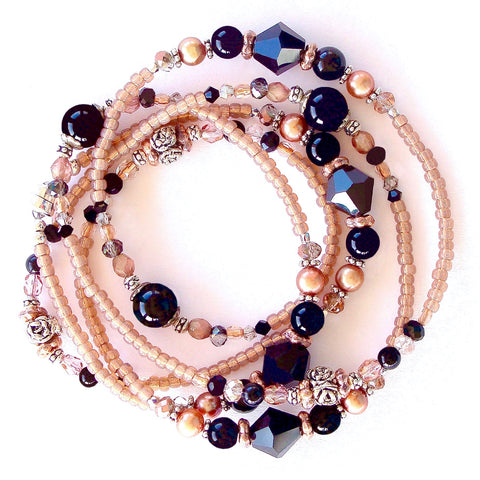 Beaded wrap bracelet on black and apricot