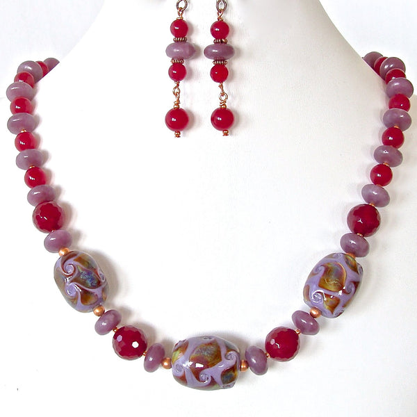 Berry Handmade Art Glass Necklace Set