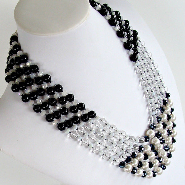 "Eclipse: 25"" Black and White Statement Necklace"