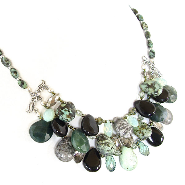 Black Gemstone Statement Necklace