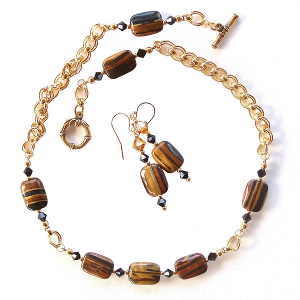 Black and Brown Necklace Set